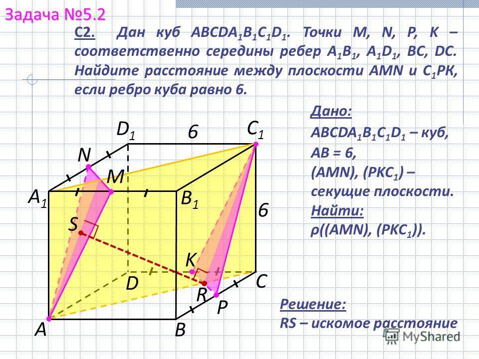 Задача 5.2 А С В А1А1 С1С1 D1D1 С2. Дан куб ABCDA 1 B 1 C 1 D 1. Точки M, N, P, K – соответственно середины ребер A 1 B 1, A 1 D 1, BC, DC. Найдите расстояние между плоскости AMN и С 1 РК, если ребро куба равно 6. 6 6 Решение: RS – искомое расстояние