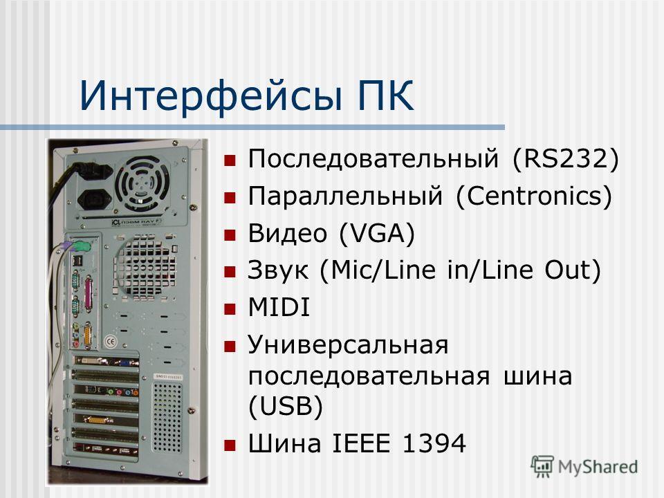 Интерфейсы ПК Последовательный (RS232) Параллельный (Centronics) Видео (VGA) Звук (Mic/Line in/Line Out) MIDI Универсальная последовательная шина (USB) Шина IEEE 1394