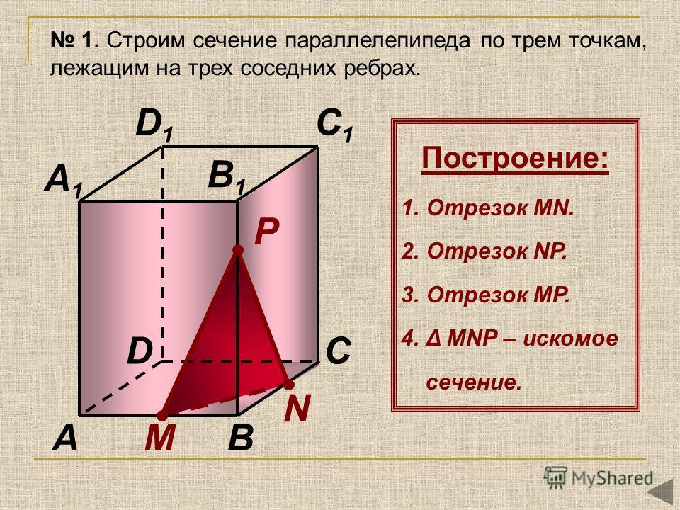 N М P AB CD A1A1 B1B1 C1C1 D1D1 1. Строим сечение параллелепипеда по трем точкам, лежащим на трех соседних ребрах. Построение: 1.Отрезок MN. 2.Отрезок NР. 3.Отрезок MР. 4.Δ MNР – искомое сечение.