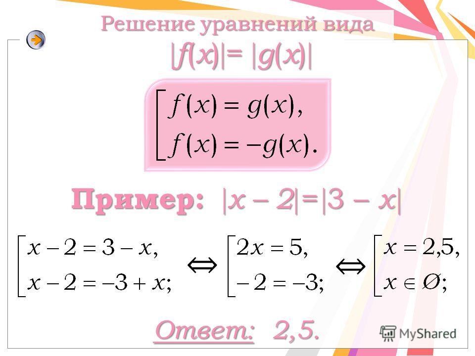 Ответ: 2,5. Решение уравнений вида f ( x ) = g ( x ) f ( x ) = g ( x ) Пример: x – 2 = 3 – x Пример: x – 2 = 3 – x
