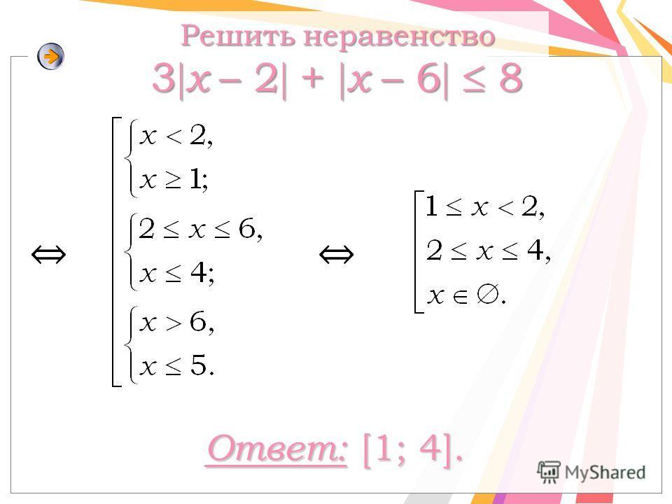 Решить неравенство 3 x – 2 + х – 6 8 Ответ: [1; 4].