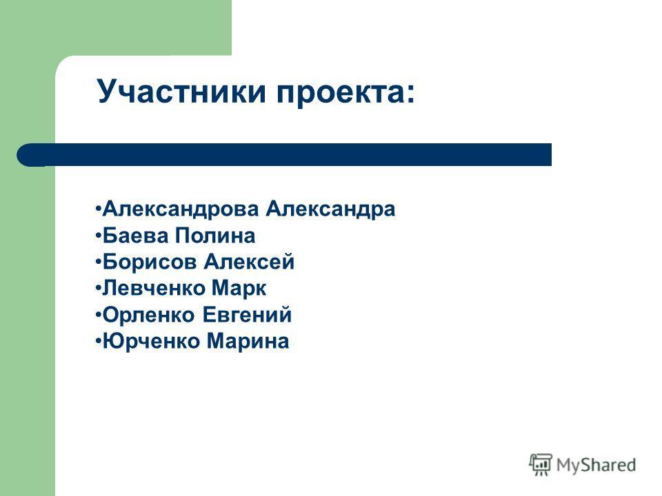 Участники проекта: Александрова Александра Баева Полина Борисов Алексей Левченко Марк Орленко Евгений Юрченко Марина