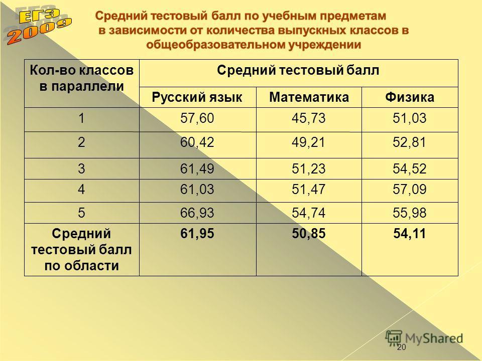 20 Кол-во классов в параллели Средний тестовый балл Русский языкМатематикаФизика 157,6045,7351,03 260,4249,2152,81 361,4951,2354,52 461,0351,4757,09 566,9354,7455,98 Средний тестовый балл по области 61,9550,8554,11
