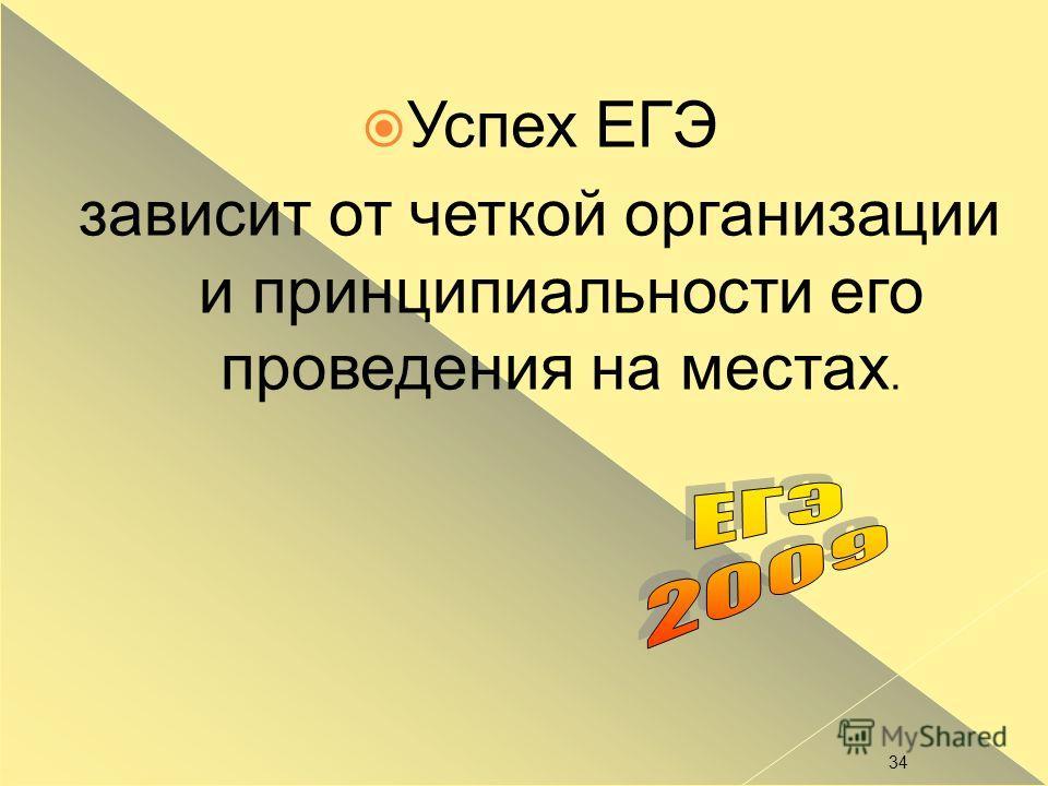 34 Успех ЕГЭ зависит от четкой организации и принципиальности его проведения на местах.