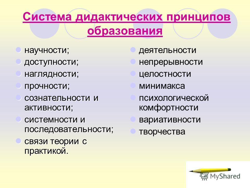 Система дидактических принципов образования научности; научности; доступности; доступности; наглядности; наглядности; прочности; прочности; сознательности и активности; сознательности и активности; системности и последовательности; системности и посл
