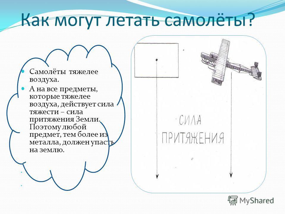 Самолёты тяжелее воздуха. А на все предметы, которые тяжелее воздуха, действует сила тяжести – сила притяжения Земли. Поэтому любой предмет, тем более из металла, должен упасть на землю. Как могут летать самолёты?
