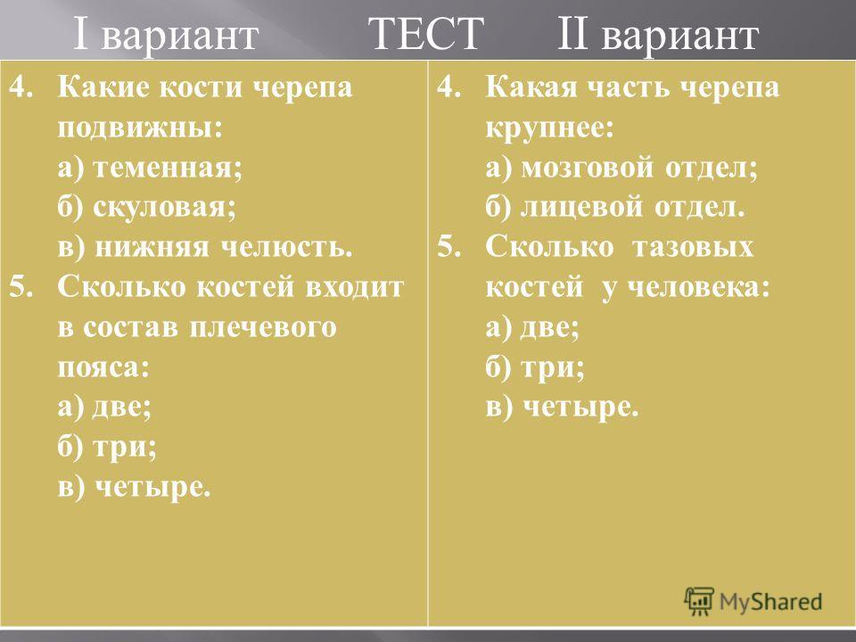 I вариант ТЕСТ II вариант 4.Какие кости черепа подвижны : а ) теменная ; б ) скуловая ; в ) нижняя челюсть. 5.Сколько костей входит в состав плечевого пояса : а ) две ; б ) три ; в ) четыре. 4.Какая часть черепа крупнее : а ) мозговой отдел ; б ) лиц