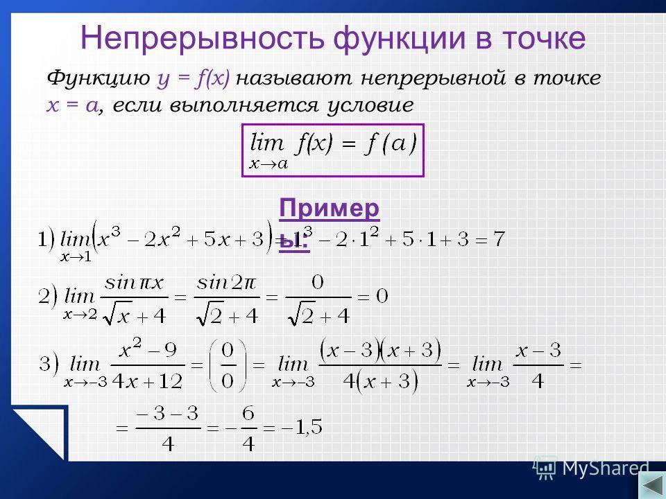 Непрерывность функции в точке Функцию y = f(x) называют непрерывной в точке x = a, если выполняется условие Пример ы: