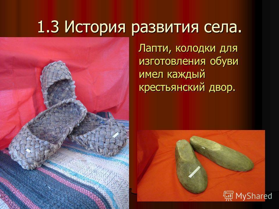 1.3 История развития села. Лапти, колодки для изготовления обуви имел каждый крестьянский двор. Лапти, колодки для изготовления обуви имел каждый крестьянский двор.