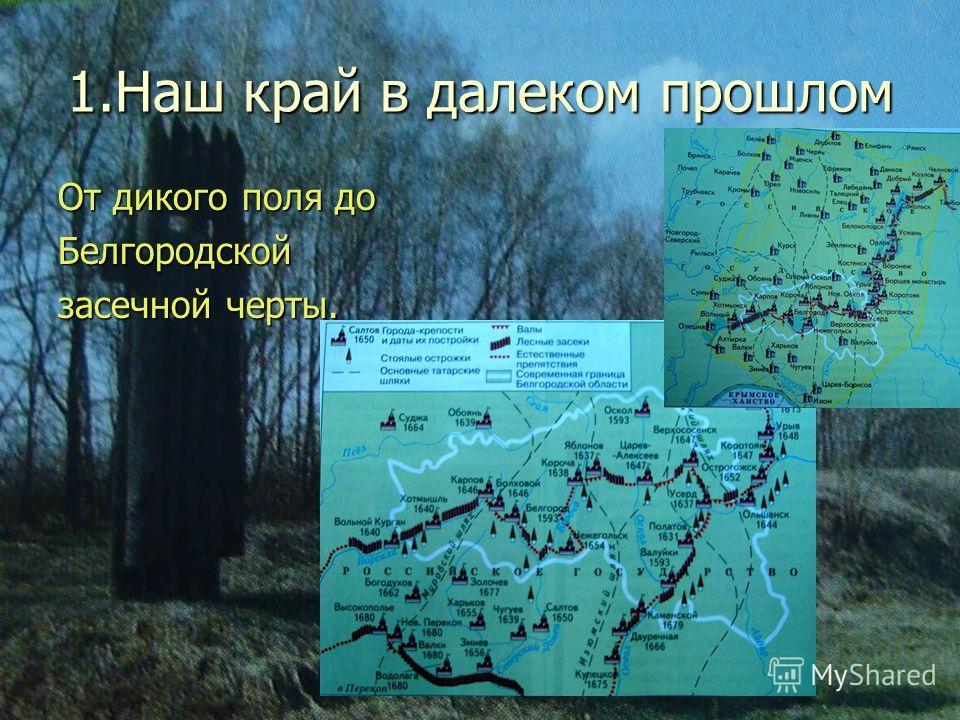 1.Наш край в далеком прошлом От дикого поля до Белгородской засечной черты.