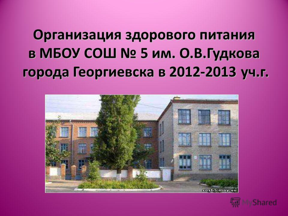 Организация здорового питания в МБОУ СОШ 5 им. О.В.Гудкова города Георгиевска в 2012-2013 уч.г.