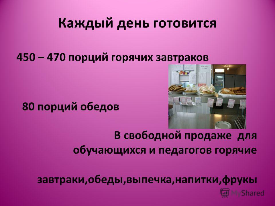 Каждый день готовится 450 – 470 порций горячих завтраков 80 порций обедов В свободной продаже для обучающихся и педагогов горячие завтраки,обеды,выпечка,напитки,фрукы