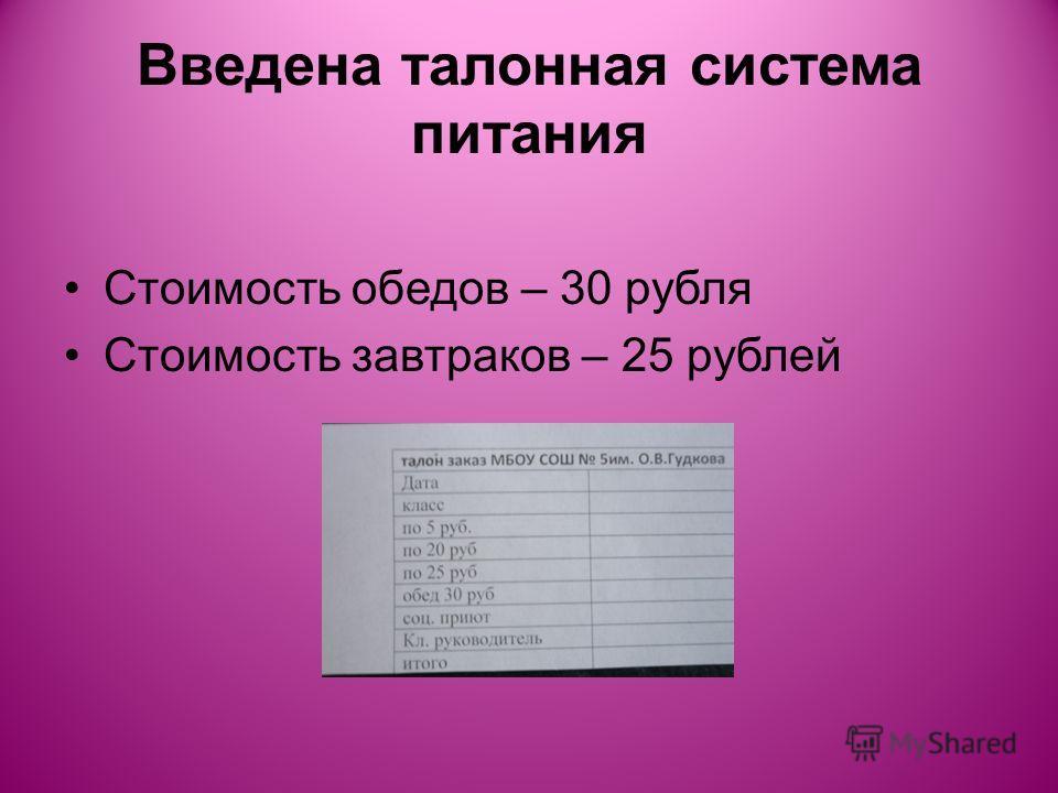 Введена талонная система питания Стоимость обедов – 30 рубля Стоимость завтраков – 25 рублей
