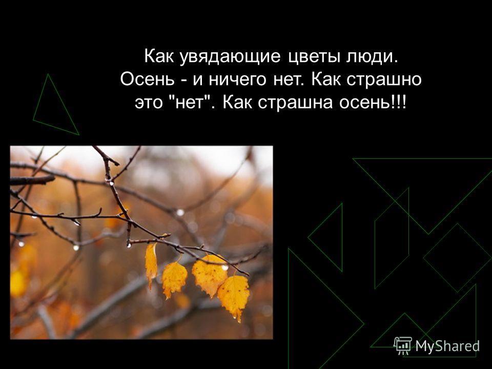 Как увядающие цветы люди. Осень - и ничего нет. Как страшно это нет. Как страшна осень!!!