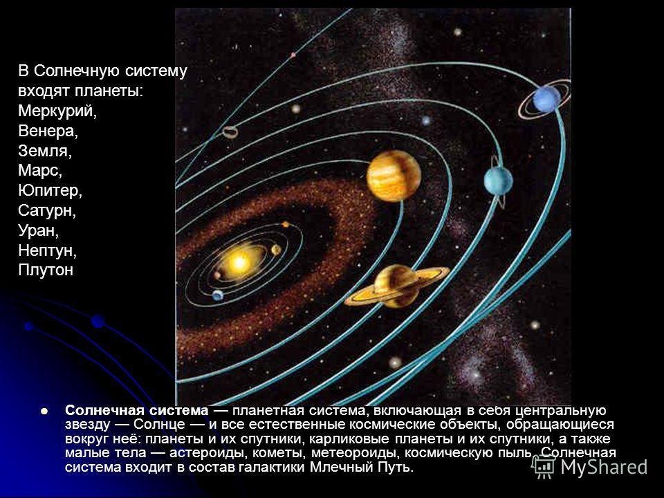 Солнечная система планетная система, включающая в себя центральную звезду Солнце и все естественные космические объекты, обращающиеся вокруг неё: планеты и их спутники, карликовые планеты и их спутники, а также малые тела астероиды, кометы, метеороид