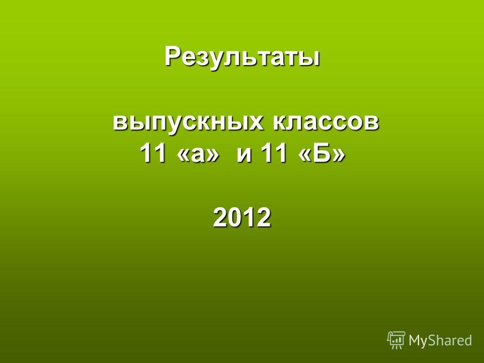 Результаты выпускных классов 11 «а» и 11 «Б» 2012