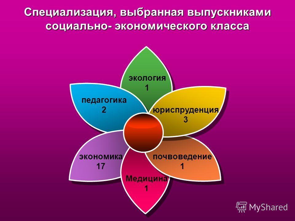 Специализация, выбранная выпускниками социально- экономического класса педагогика 2 юриспруденция 3 экология 1 Медицина 1 почвоведение 1 экономика 17