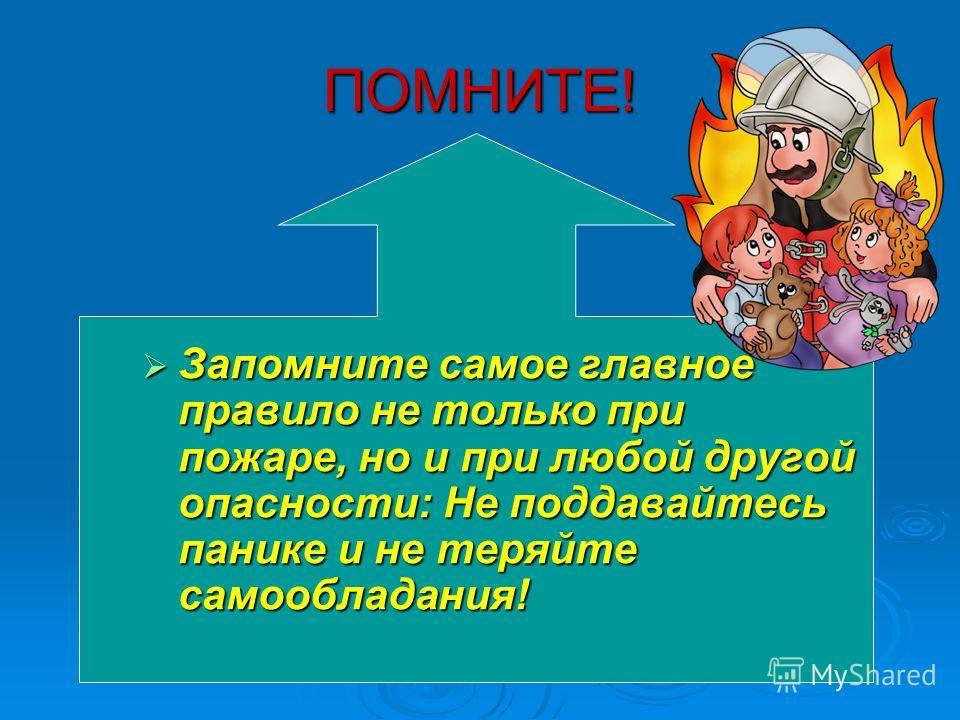 ПОМНИТЕ! Запомните самое главное правило не только при пожаре, но и при любой другой опасности: Не поддавайтесь панике и не теряйте самообладания! Запомните самое главное правило не только при пожаре, но и при любой другой опасности: Не поддавайтесь