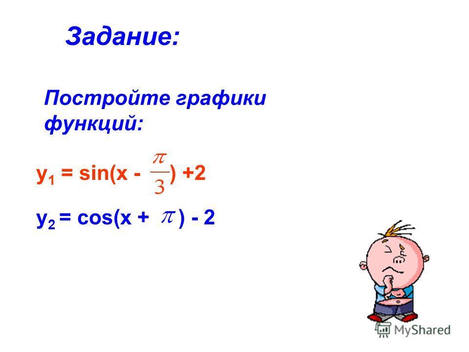 Постройте графики функций: Задание: у 2 = cos(x + ) - 2 у 1 = sin(x - ) +2