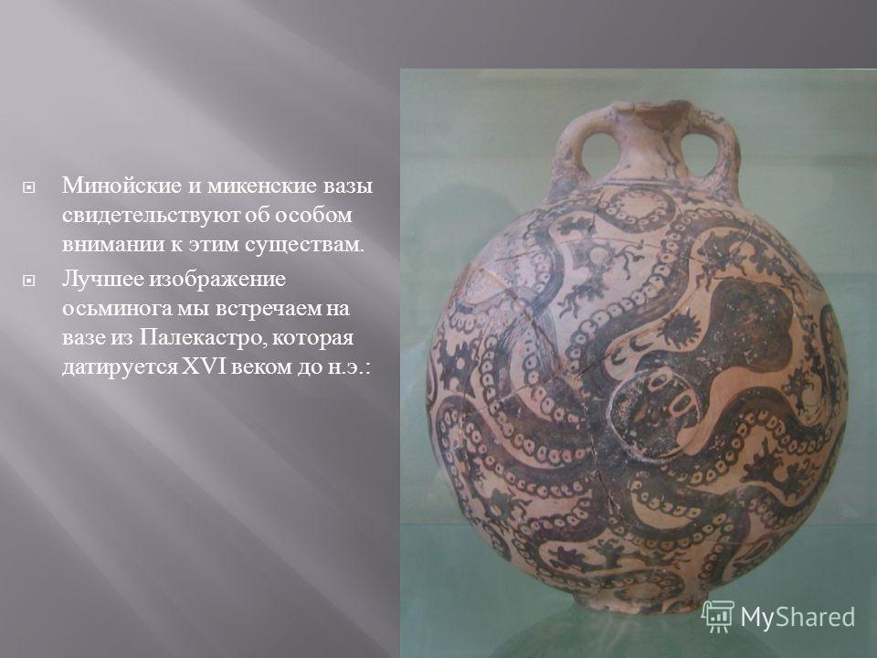 Минойские и микенские вазы свидетельствуют об особом внимании к этим существам. Лучшее изображение осьминога мы встречаем на вазе из Палекастро, которая датируется XVI веком до н. э.: