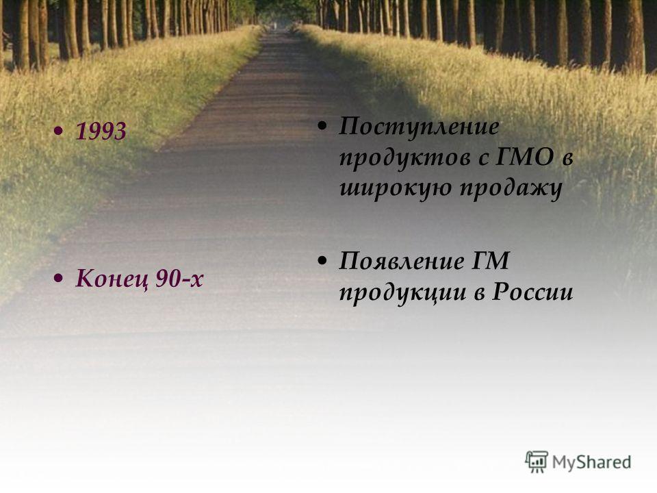 1993 Конец 90-х Поступление продуктов с ГМО в широкую продажу Появление ГМ продукции в России