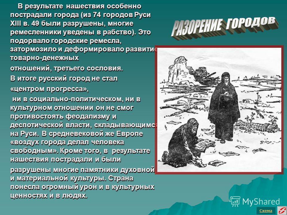 В результате нашествия особенно пострадали города (из 74 городов Руси XIII в. 49 были разрушены, многие ремесленники уведены в рабство). Это подорвало городские ремесла, затормозило и деформировало развитие товарно-денежных В результате нашествия осо