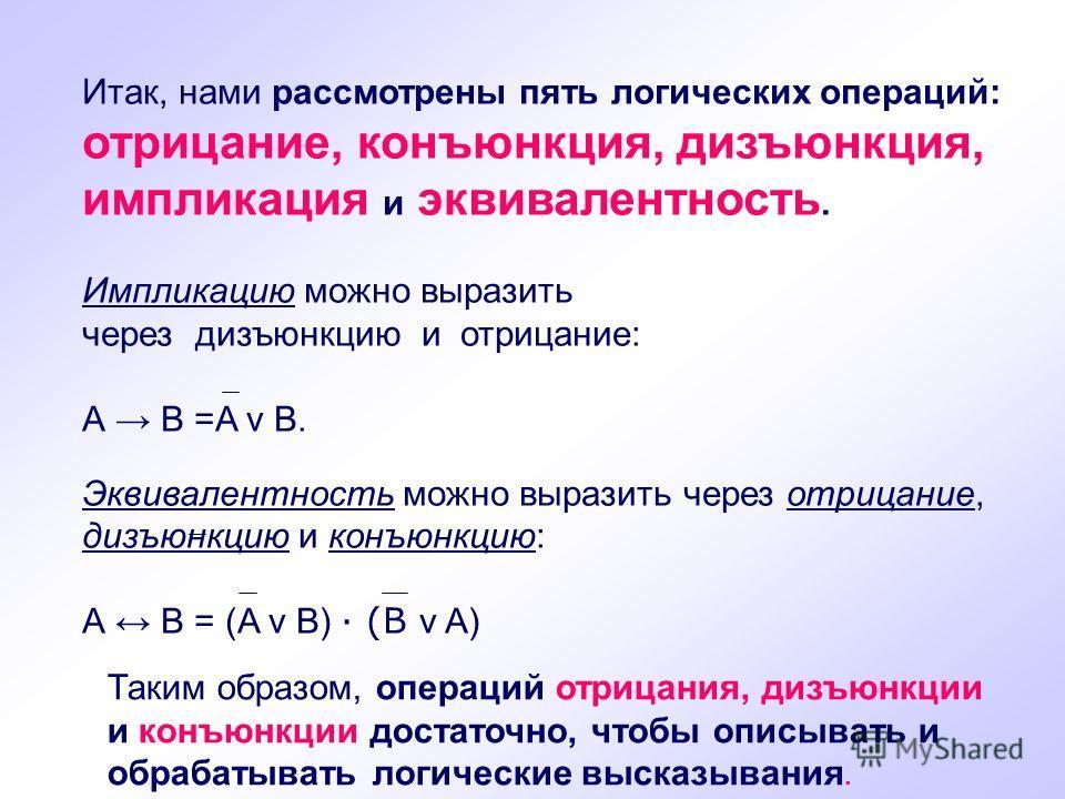 Итак, нами рассмотрены пять логических операций: отрицание, конъюнкция, дизъюнкция, импликация и эквивалентность. Импликацию можно выразить через дизъюнкцию и отрицание: А В =A v В. Эквивалентность можно выразить через отрицание, дизъюнкцию и конъюнк