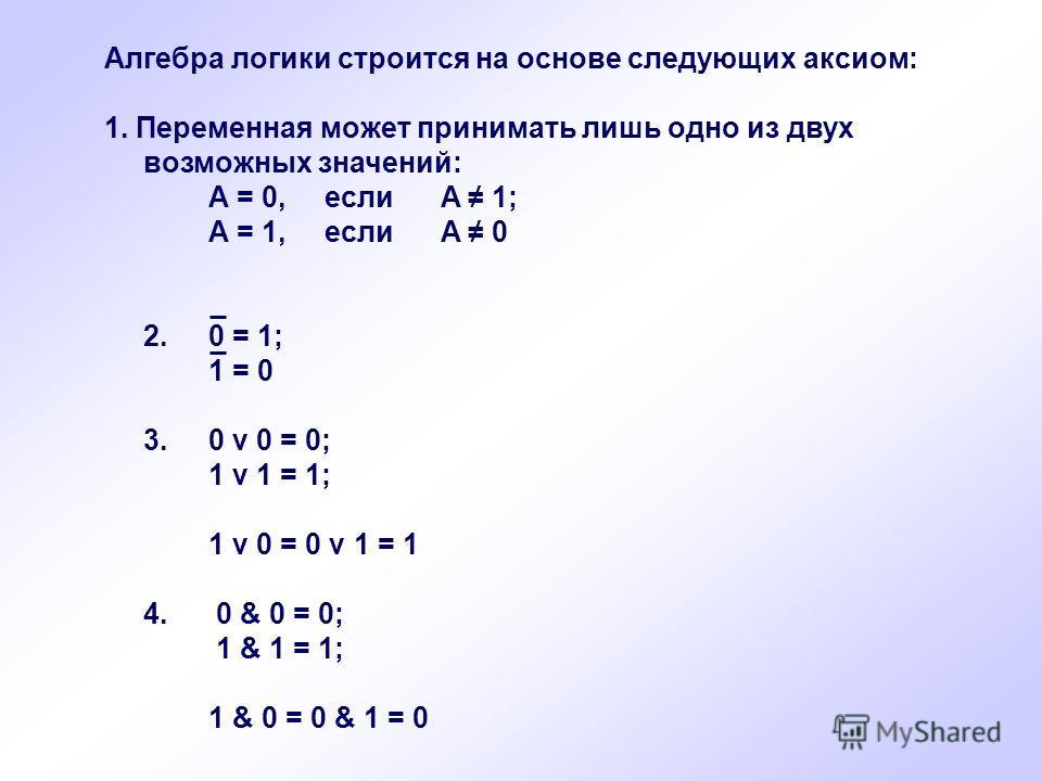 Алгебра логики строится на основе следующих аксиом: 1. Переменная может принимать лишь одно из двух возможных значений: A = 0, если A 1; A = 1, если A 0 2.0 = 1; 1 = 0 3. 0 v 0 = 0; 1 v 1 = 1; 1 v 0 = 0 v 1 = 1 4. 0 & 0 = 0; 1 & 1 = 1; 1 & 0 = 0 & 1