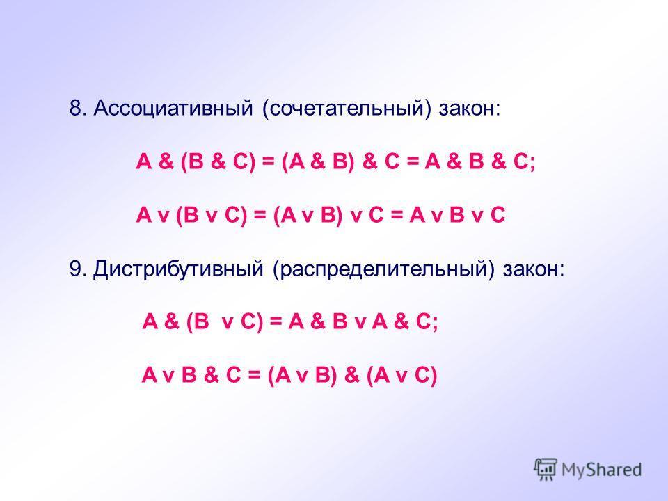 8. Ассоциативный (сочетательный) закон: А & (B & C) = (A & B) & C = A & B & C; A v (B v C) = (A v B) v C = A v B v C 9. Дистрибутивный (распределительный) закон: A & (B v C) = A & B v A & C; A v B & C = (A v B) & (A v C)