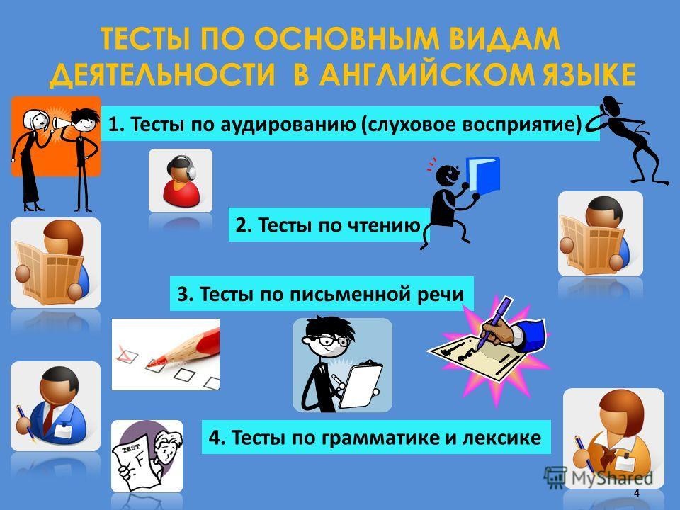 ТЕСТЫ ПО ОСНОВНЫМ ВИДАМ ДЕЯТЕЛЬНОСТИ В АНГЛИЙСКОМ ЯЗЫКЕ 1. Тесты по аудированию (слуховое восприятие) 2. Тесты по чтению 3. Тесты по письменной речи 4. Тесты по грамматике и лексике 4