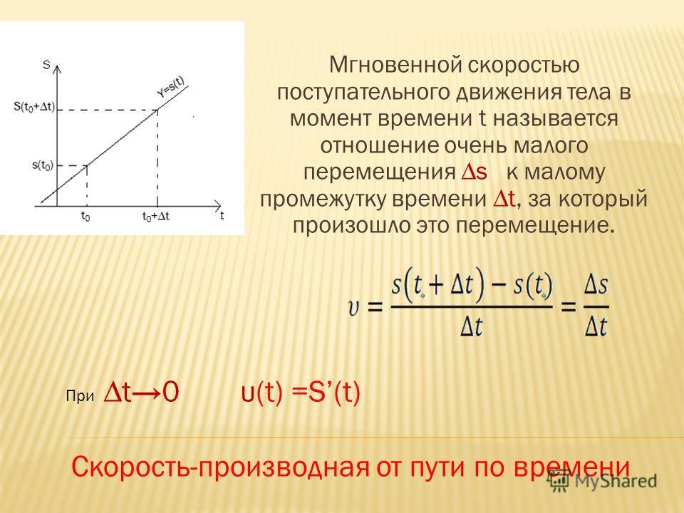 Мгновенной скоростью поступательного движения тела в момент времени t называется отношение очень малого перемещения s к малому промежутку времени t, за который произошло это перемещение. Приt0 υ(t) =S(t) Скорость-производная от пути по времени