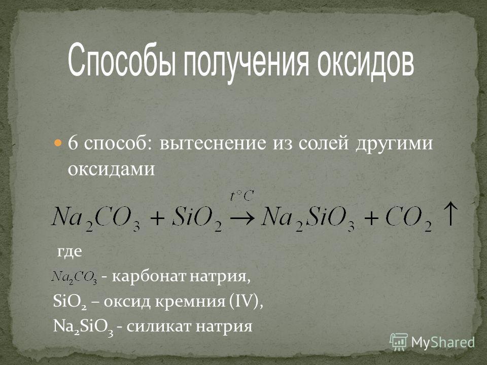 6 способ: вытеснение из солей другими оксидами где - карбонат натрия, SiO 2 – оксид кремния (IV), Na 2 SiO 3 - силикат натрия