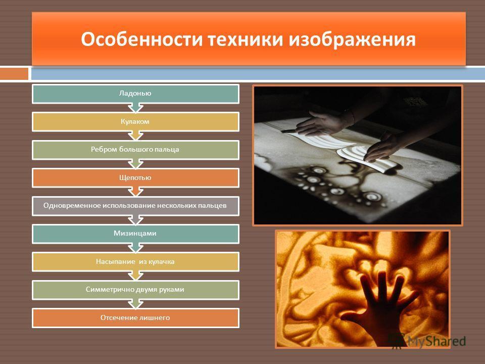 Особенности техники изображения Отсечение лишнего Симметрично двумя руками Насыпание из кулачка Мизинцами Одновременное использование нескольких пальцев Щепотью Ребром большого пальца Кулаком Ладонью