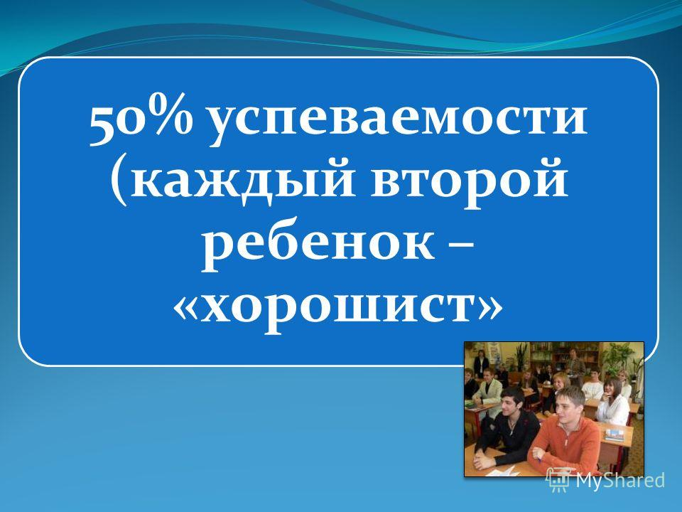 50% успеваемости (каждый второй ребенок – «хорошист»