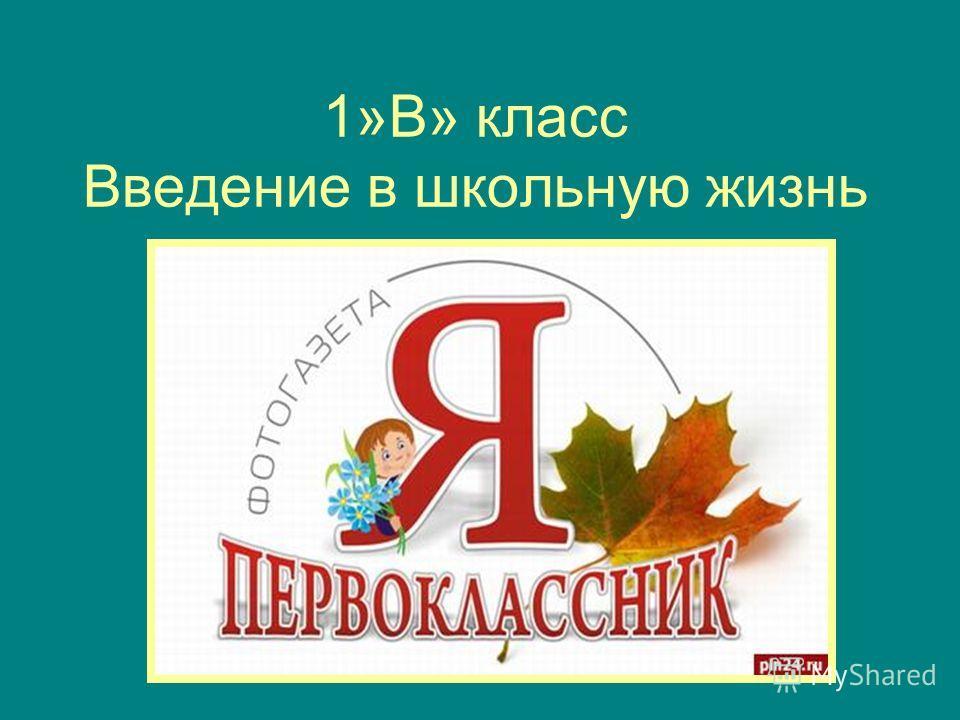 1»В» класс Введение в школьную жизнь