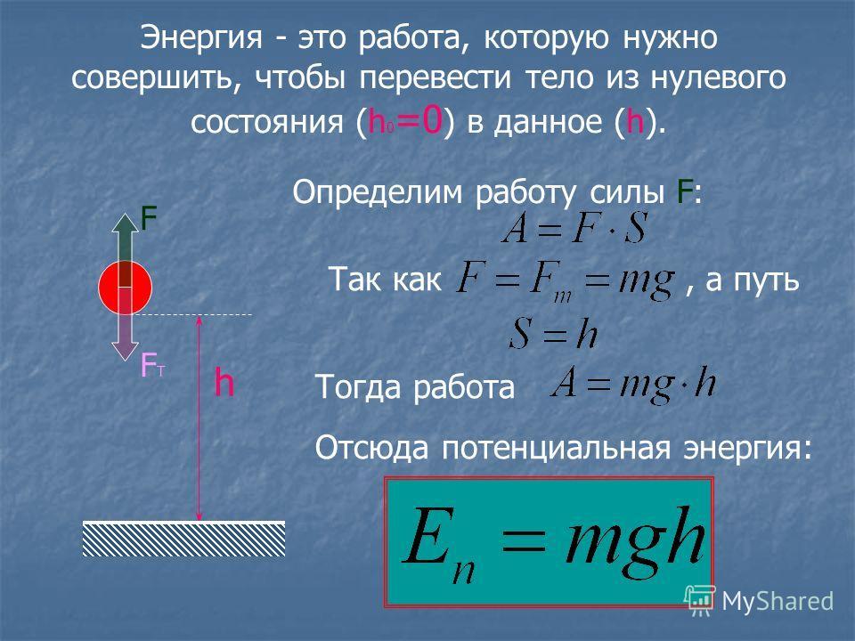 Энергия - это работа, которую нужно совершить, чтобы перевести тело из нулевого состояния (h 0 =0 ) в данное (h). h FТFТ F Определим работу силы F: Так как, а путь Тогда работа Отсюда потенциальная энергия: