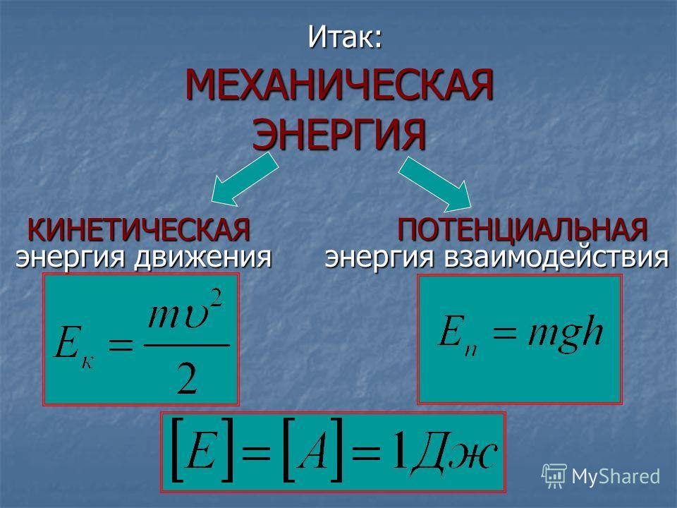 МЕХАНИЧЕСКАЯ ЭНЕРГИЯ КИНЕТИЧЕСКАЯ ПОТЕНЦИАЛЬНАЯ энергия движения энергия взаимодействия Итак: