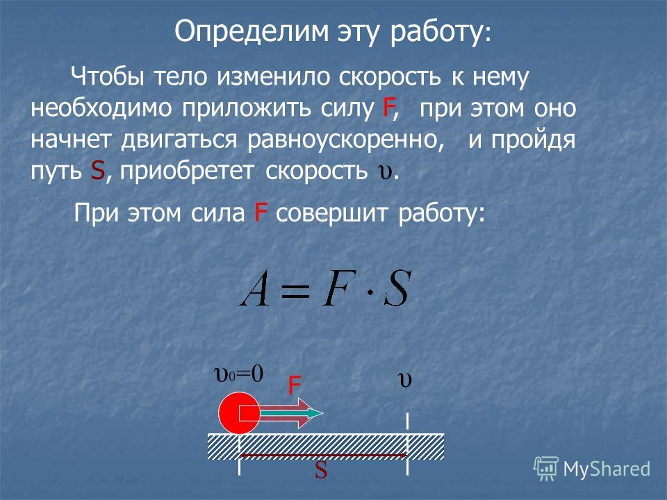 Определим эту работу : υ υ 0 =0 S Чтобы тело изменило скорость к нему необходимо приложить силу F, при этом оно начнет двигаться равноускоренно, и пройдя путь S, При этом сила F совершит работу: F приобретет скорость υ.