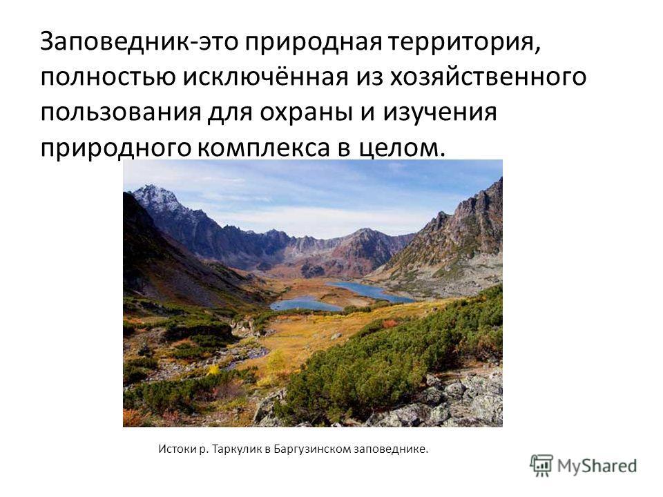 Заповедник-это природная территория, полностью исключённая из хозяйственного пользования для охраны и изучения природного комплекса в целом. Истоки р. Таркулик в Баргузинском заповеднике.