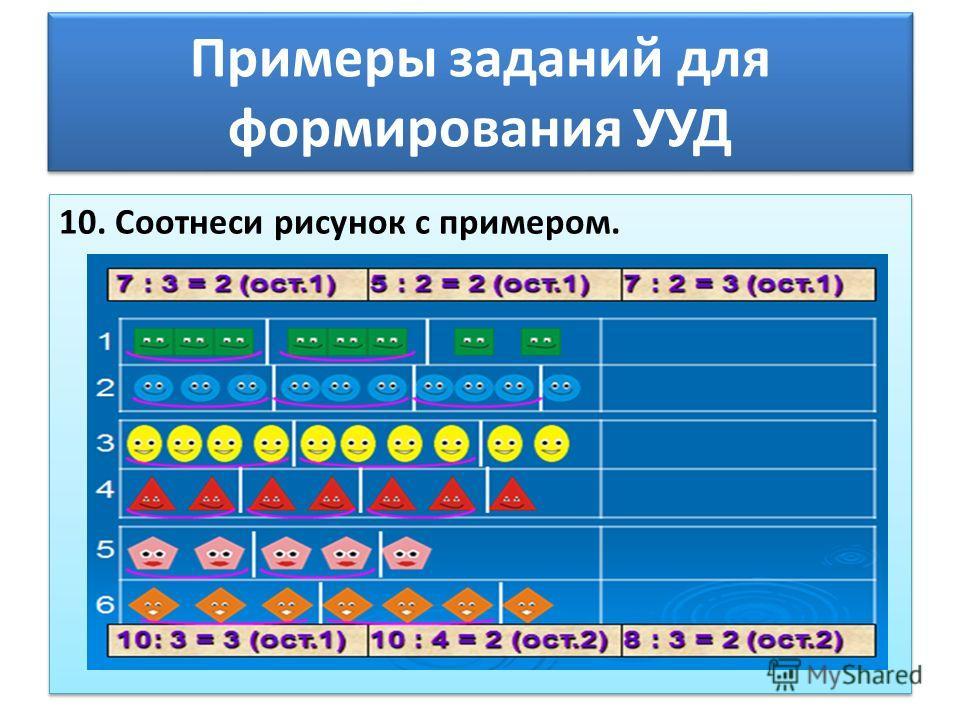 Примеры заданий для формирования УУД 10. Соотнеси рисунок с примером.