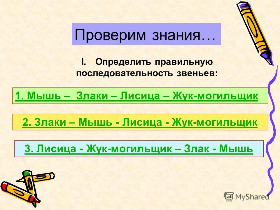 Проверим знания… I.Определить правильную последовательность звеньев: 1. Мышь – Злаки – Лисица – Жук-могильщик 2. Злаки – Мышь - Лисица - Жук-могильщик 3. Лисица - Жук-могильщик – Злак - Мышь