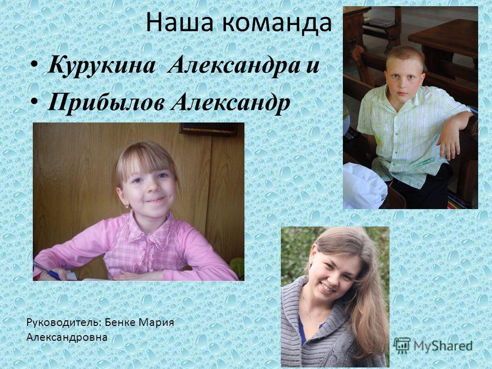 Наша команда Курукина Александра и Прибылов Александр Руководитель: Бенке Мария Александровна