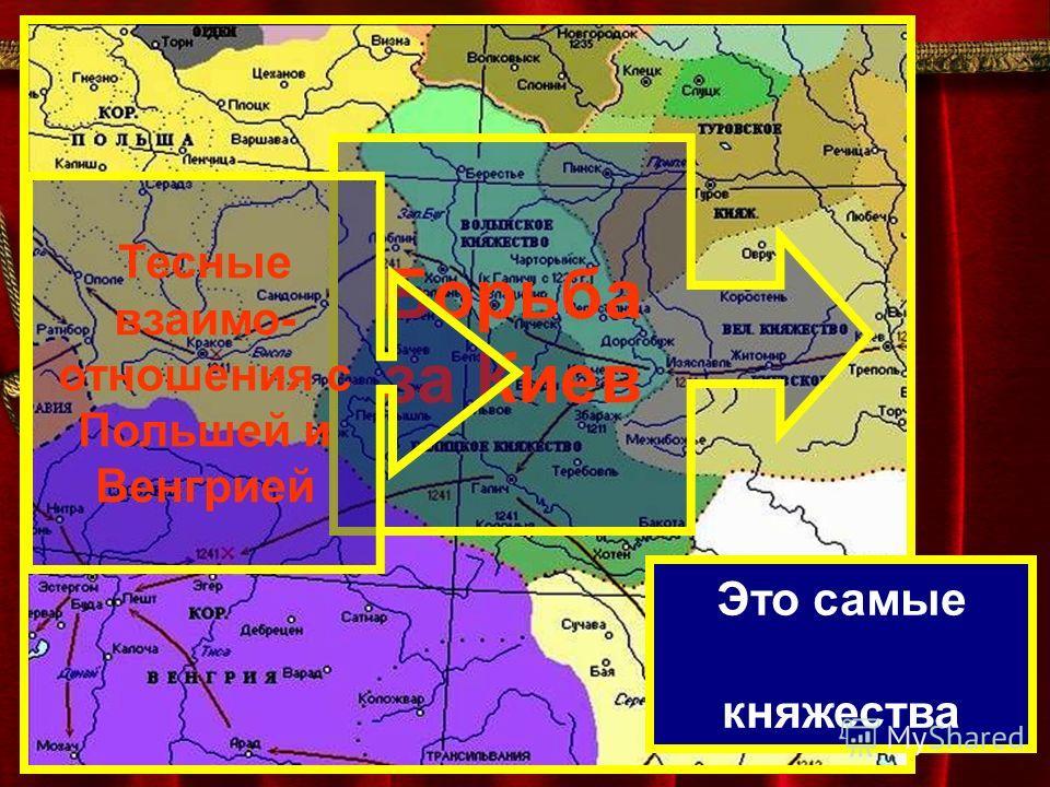 Это самые западные княжества Борьба за Киев Тесные взаимо- отношения с Польшей и Венгрией