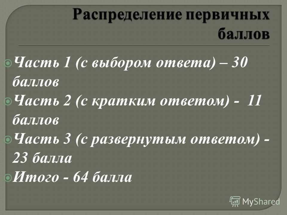 Часть 1 (с выбором ответа) – 30 баллов Часть 2 (с кратким ответом) - 11 баллов Часть 3 (с развернутым ответом) - 23 балла Итого - 64 балла