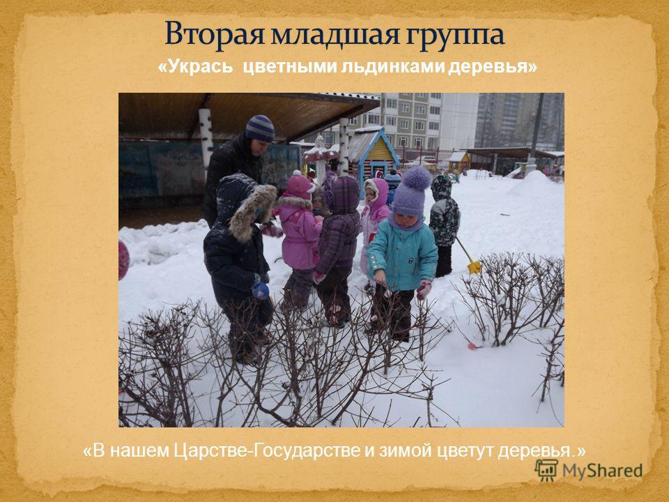 «Укрась цветными льдинками деревья» «В нашем Царстве-Государстве и зимой цветут деревья.»