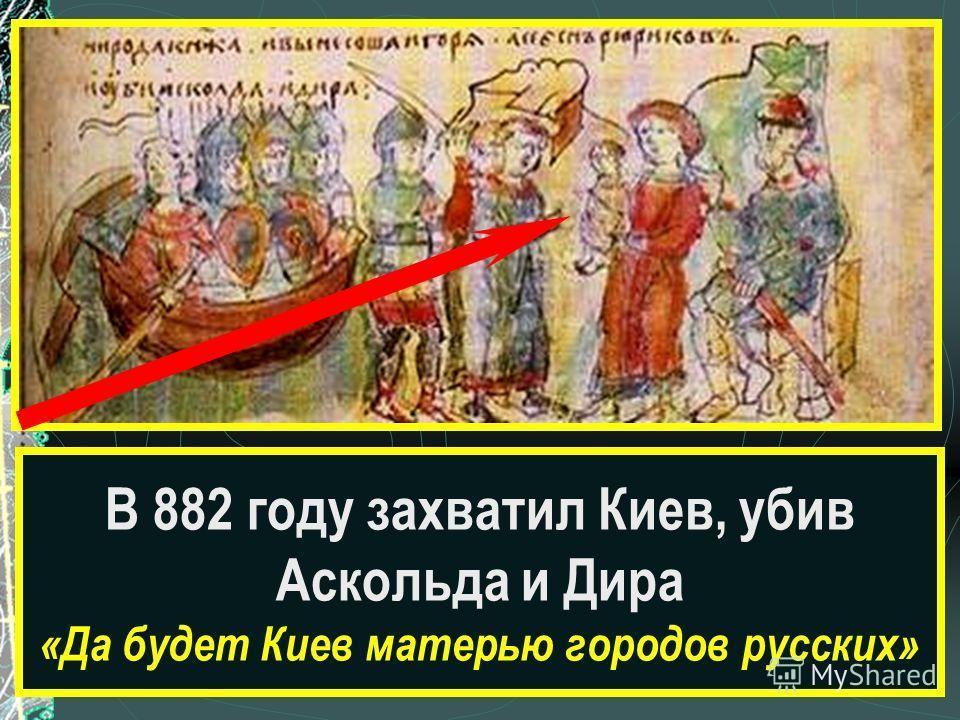 Какой сюжет древнерусской истории изображён на рисунке? В 882 году захватил Киев, убив Аскольда и Дира «Да будет Киев матерью городов русских»