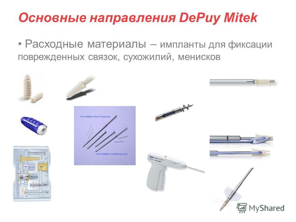Основные направления DePuy Mitek Расходные материалы – импланты для фиксации поврежденных связок, сухожилий, менисков