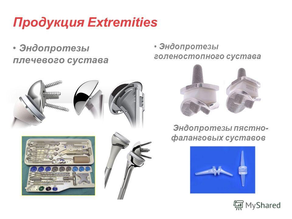 Продукция Extremities Эндопротезы плечевого сустава Эндопротезы голеностопного сустава Эндопротезы пястно- фаланговых суставов