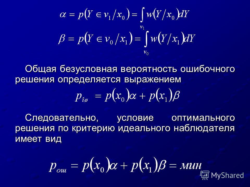 Общая безусловная вероятность ошибочного решения определяется выражением Следовательно, условие оптимального решения по критерию идеального наблюдателя имеет вид