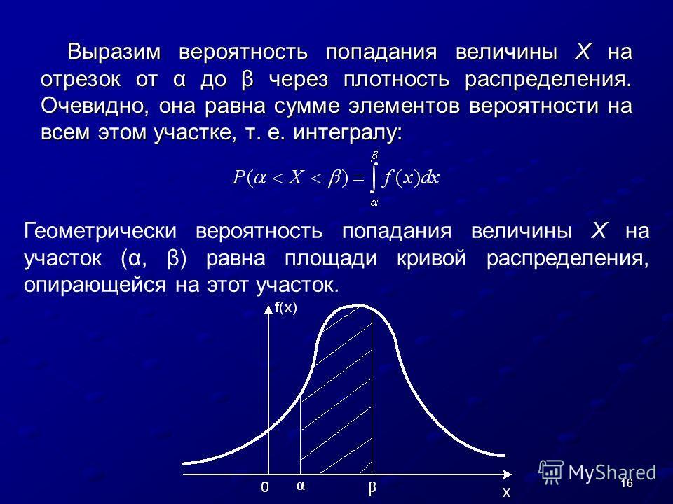 16 Выразим вероятность попадания величины X на отрезок от α до β через плотность распределения. Очевидно, она равна сумме элементов вероятности на всем этом участке, т. е. интегралу: Геометрически вероятность попадания величины X на участок (α, β) ра